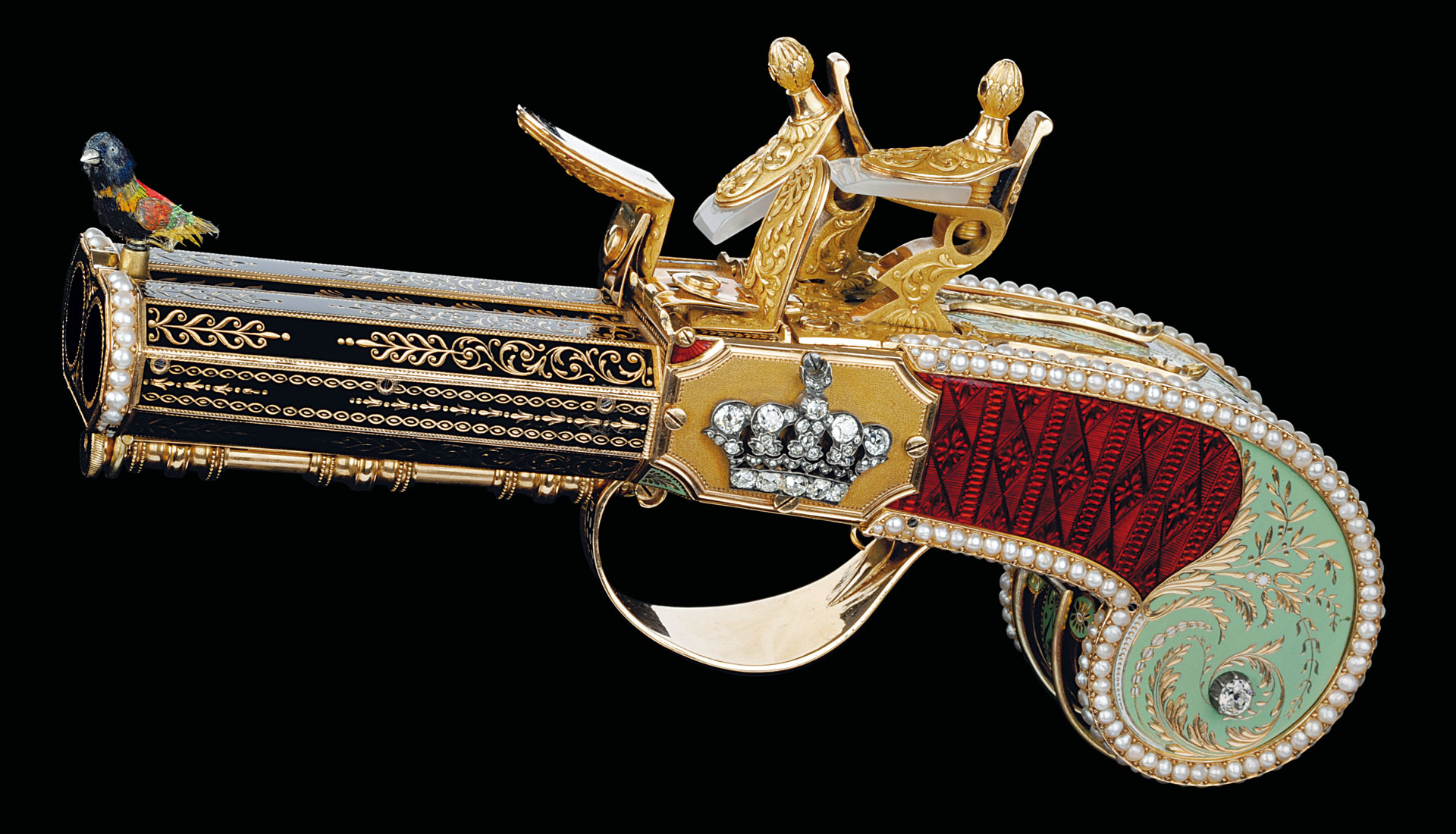 The double-barrel pistol and its songbird